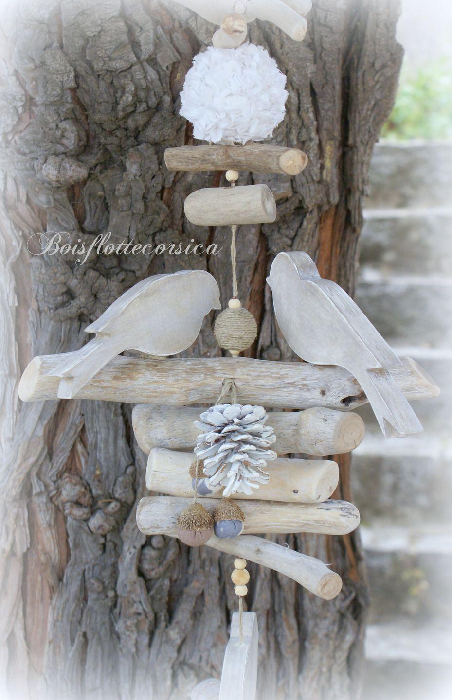Grande guirlande en bois flott et oiseaux en bois - Guirlande porte photo avec pinces linge ...