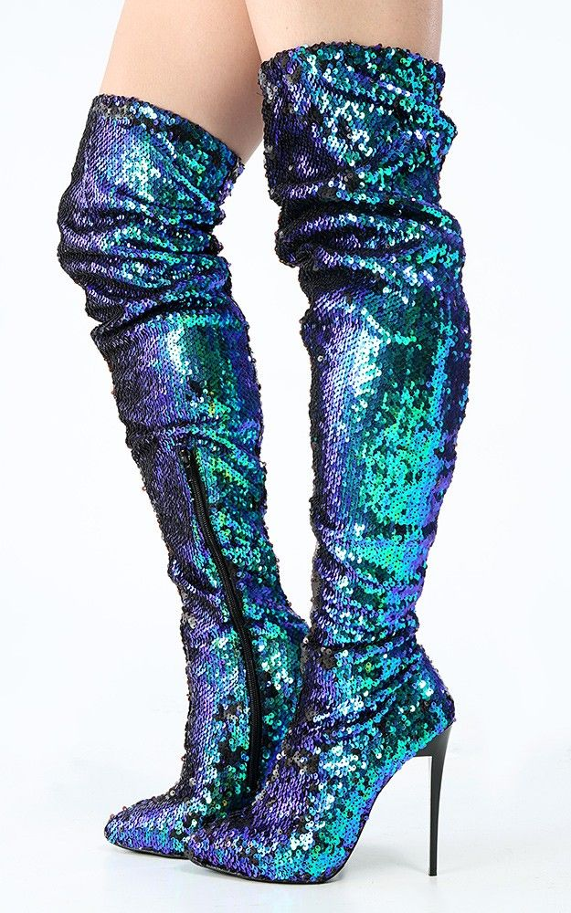 14c37994cc5 Pointy Toe Mermaid Sequin Thigh High Boots | MakeMeChic.com | Make ...