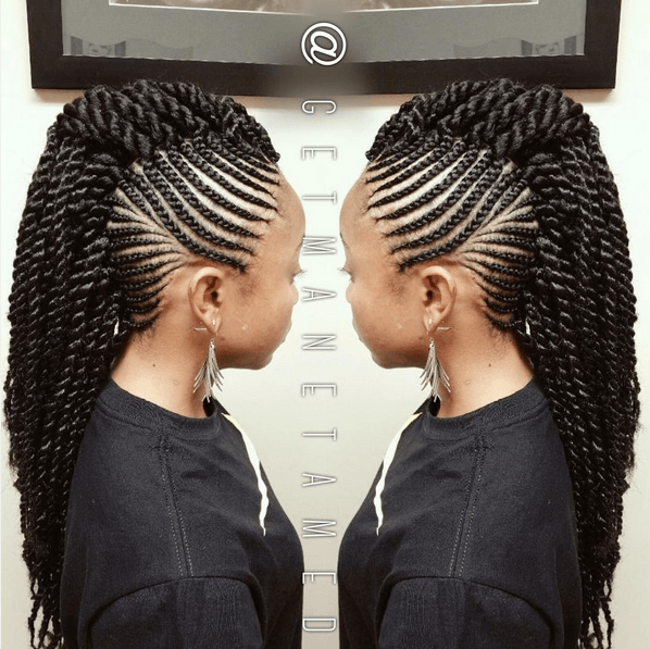 6 Ways To Style Box Braids Braided Mohawk Hairstyles