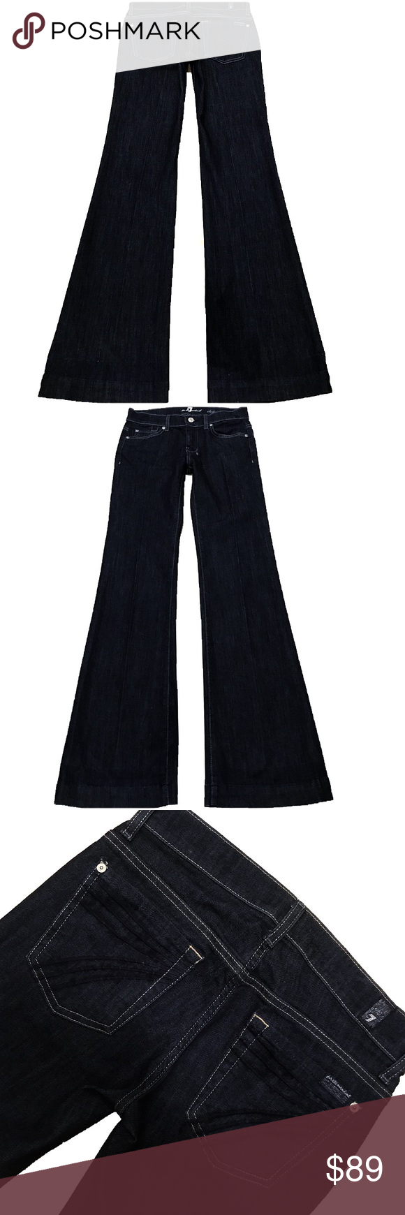 """7 For All Mankind """"Dojo"""" SZ 25 Inseam 35"""" (#366) NWOT Cute Pair Of 7 For All Mankind """"Dojo"""" Women's SZ 25 Flare Leg Dark Wash Blue Stitched 7 Low-Rise Stretch Jeans. XXL Inseam 35"""" Style# JU115Y702C Cut# 005777 Measurements: Waist: 25"""" Hips: 35"""" Front rise: 8"""" Back rise: 12.5"""" Inseam: 35"""" 7 For All Mankind Jeans Flare & Wide Leg"""