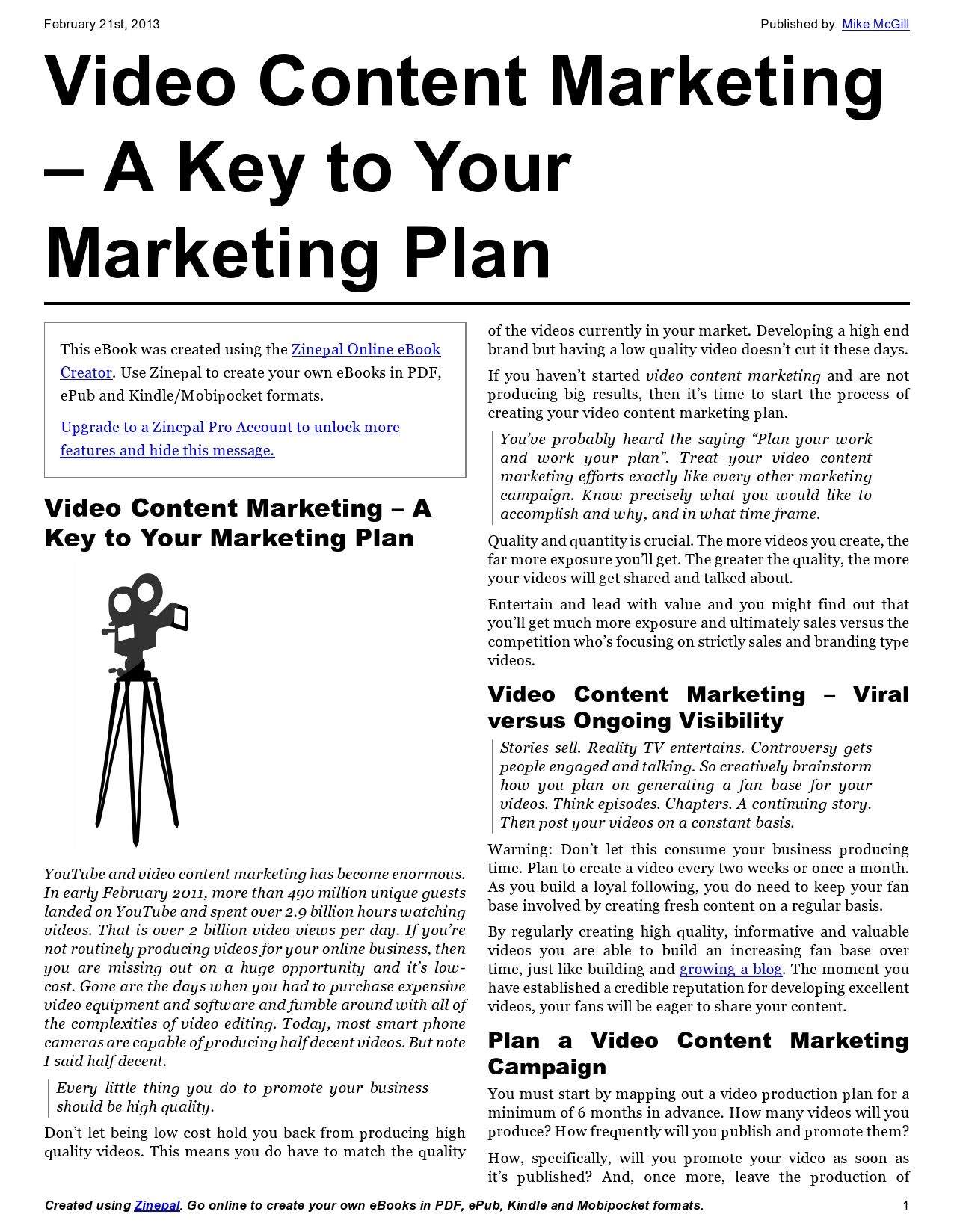 Video Content Marketing  A Key To Your Marketing Plan  Document