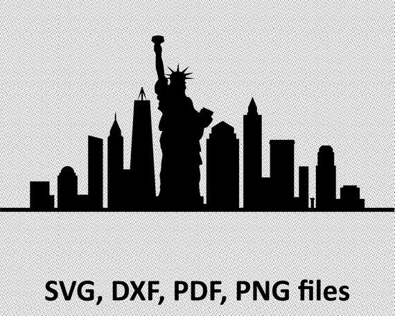 New York Svg City Skyline Liberty Statue Silhouette