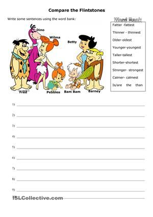 comparatives and superlatives with the flinstones family esl worksheets my english. Black Bedroom Furniture Sets. Home Design Ideas