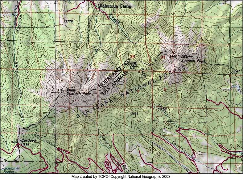 Topography Map Of Spanish Peaks Colorado Google Search Wild - Map of southern colorado