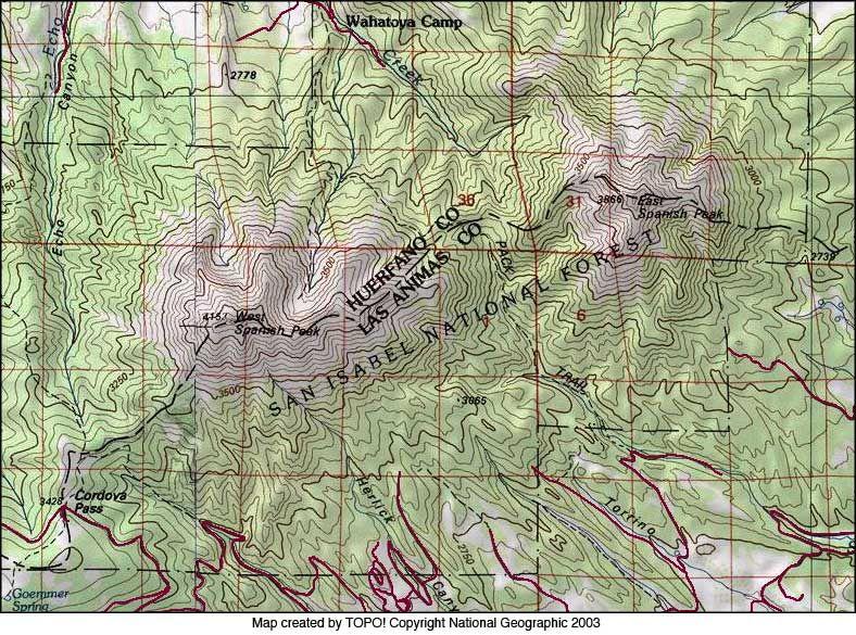 Spanish Peaks Colorado Google Search Las Animas Topography Map Colorado
