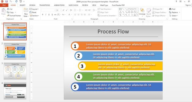 Simple Process Flow Template for PowerPoint #flow #diagram - flow chart template