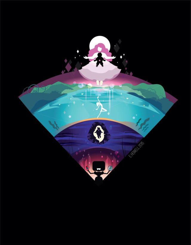 Steven universe forms bottom is garnet you can see her using her powers but one is blue and the other hand is red symbolizing ruby and sapphire then there's aymthest looks like the background shows that she's from the kindergarten then there's perl being graceful as ever but I really like how this person made Steven in roses heart really it should be opposite but still very cool not sure when the show comes back on but you guys can check it out on cartoon network or hulu has 2 season ❤