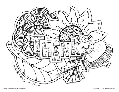 Thanksgiving coloring page for adults. Printable coloring pages for the holidays drawn by Jennifer Stay.