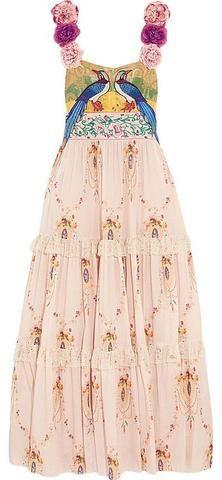 Applique Flower-Strap Embroidered Long Dress