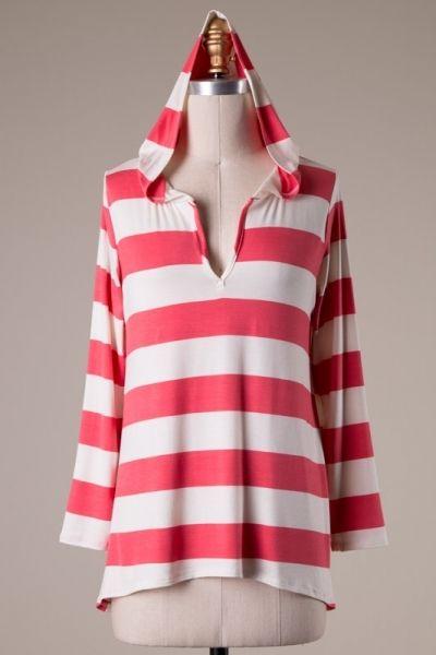 Long sleeve stripe top with hood.