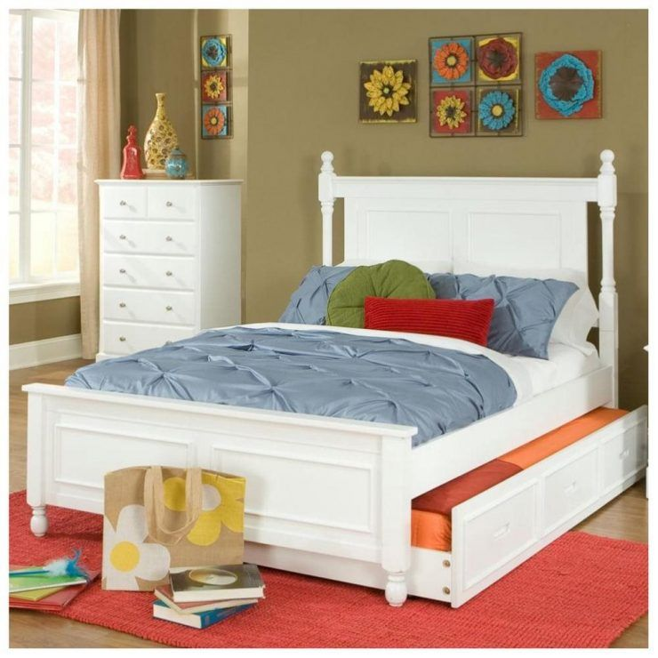 White Queen Trundle Captain Bed With White Dresser Queen Trundle
