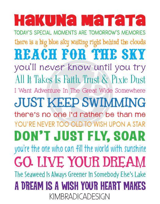 Disney Inspirational Movie Quotes Subway Art 11x14 Multi Colored