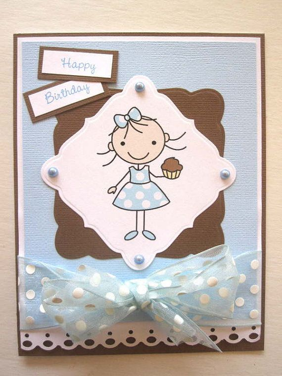 Kids Birthday card little girl and cupcake by BellaCardCreations