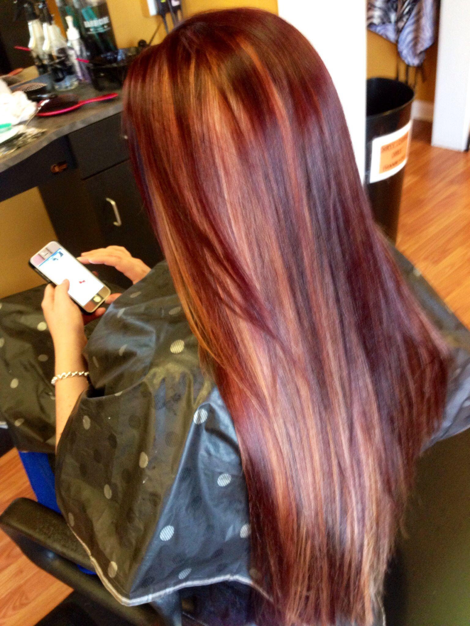 red and peekaboo highlights hair by nikki pinterest