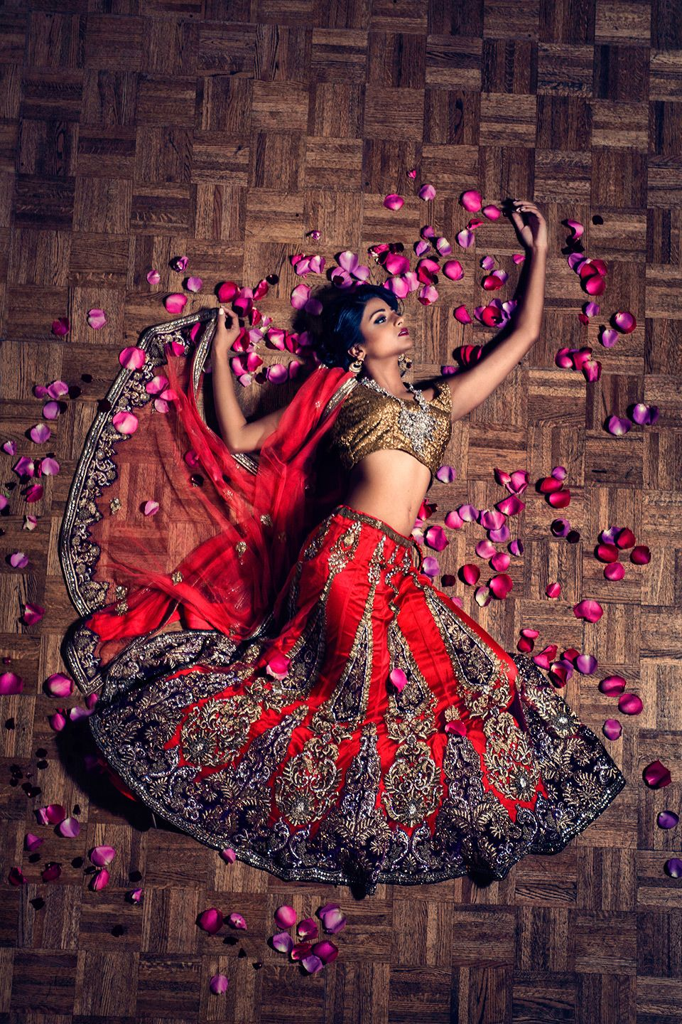 High Fashion In Houston high fashion picture of indian in bridal sari surrounded by