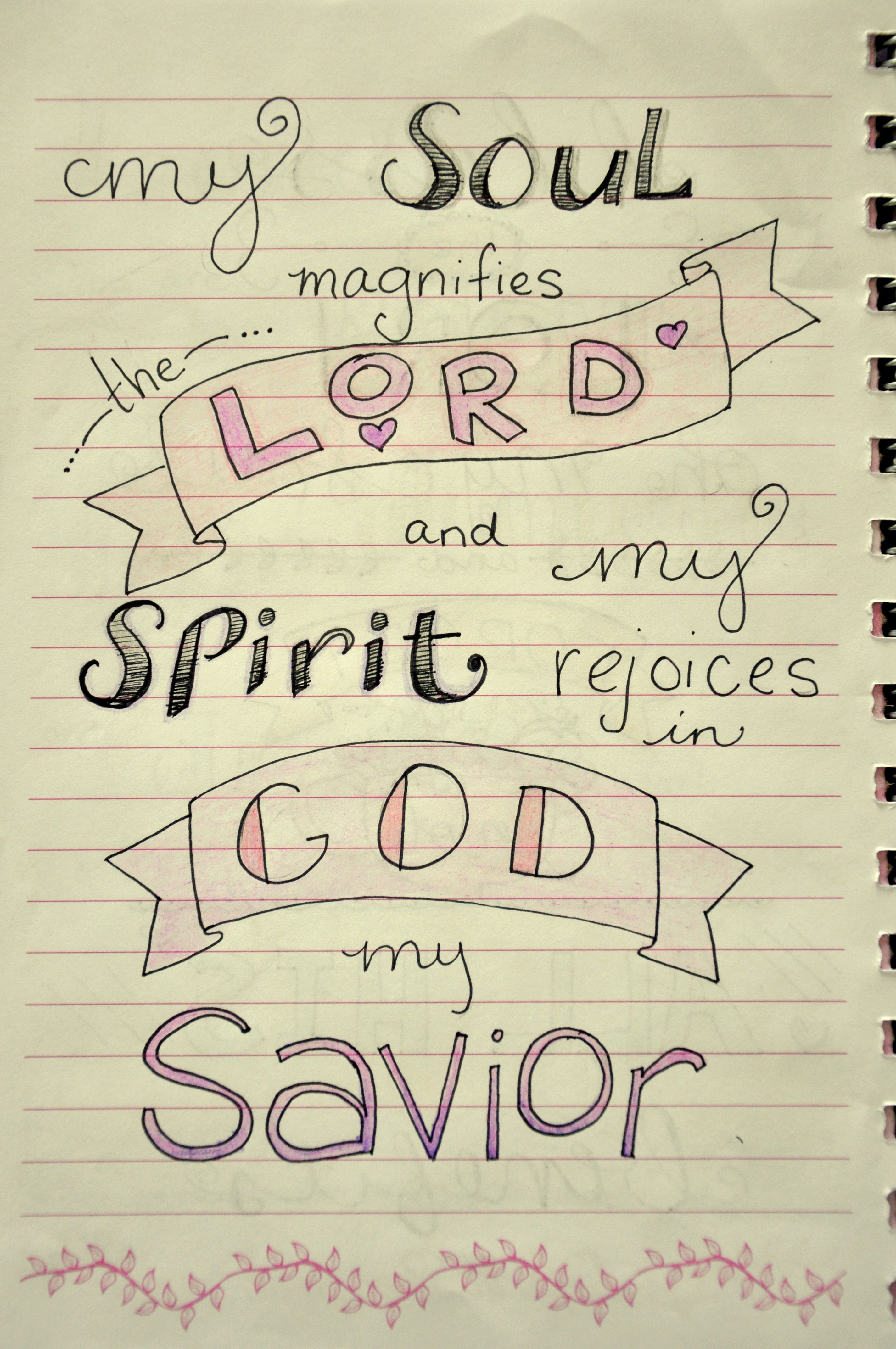 my soul magnifies the lord images bible journaling