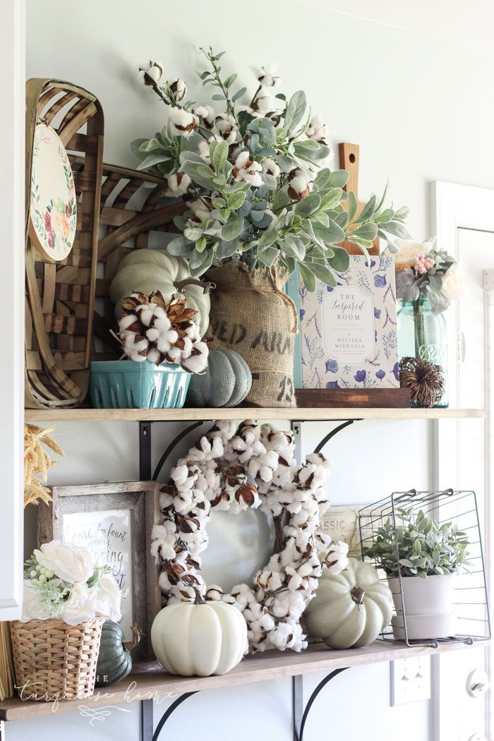 Neutral farmhouse fall kitchen shelves