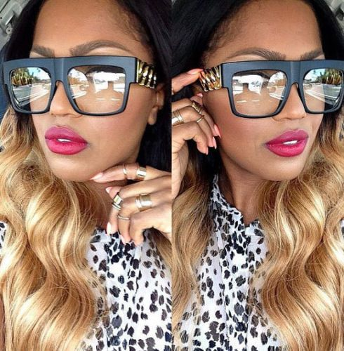 Unisex Flat Top Gold Chain Link Hip Hop Rapper Aviator Celebrity Glasses   WGS  Square 02e21a1fd82