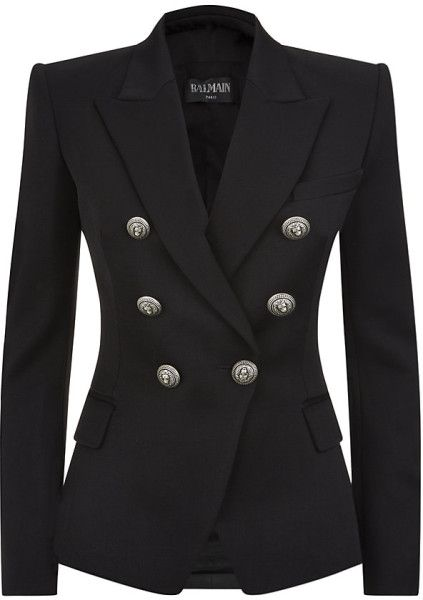 5648e25fffe82 Love this: BALMAIN Black Double Breasted Wool Blazer @Lyst | G in ...