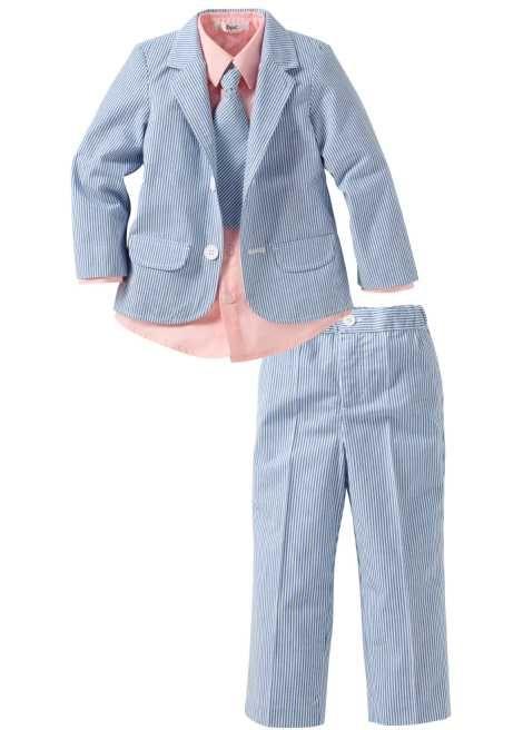 Guarda qui:Per le occasioni di festa! Completo composto da giacca, pantalone, camicia e cravatta. Pantalone con elastico in vita per il massimo comfort. 100% cotone.