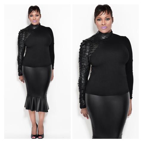 Black Faux Leather Sleeve Turtle Neck Fondren S Fashion House Fashion Leather Sleeve Black Faux Leather