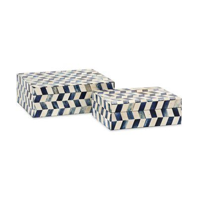 Essentials by Connie Post has received a makeover with new colors and style like this set of two bone boxes in modern, funky pattern.