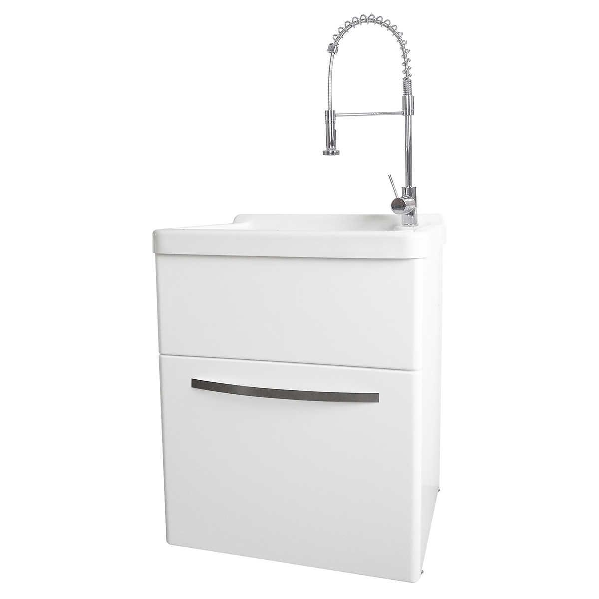 Transform Acrylic Utility Sink With Pull Down Faucet And Storage Cabinet In 2020 Utility Sink Faucets Utility Sink Acrylic Tub