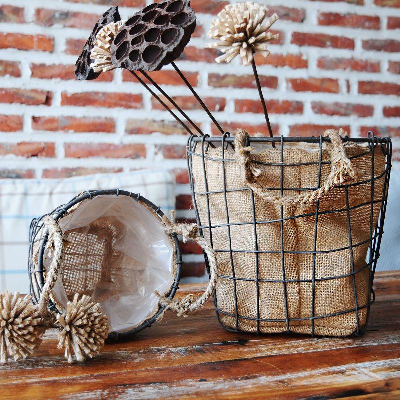 Vintage Flax Lined Wire Storage Basket