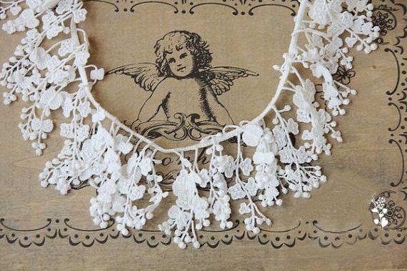 Photo of Off White Bridal Lace Trim, cascadding lace, guipure lace tr…