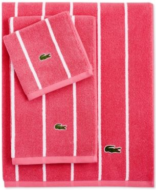 Lacoste Sport Stripe 30 X 52 Bath Towel Pink Striped Bath