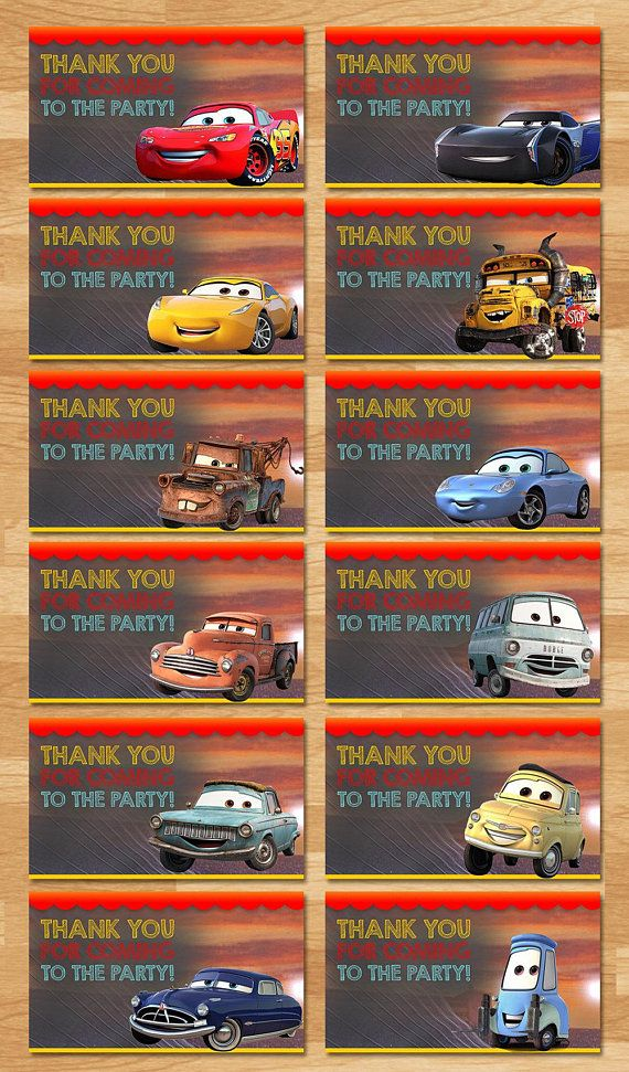 Disney Cars 3 Party Tags In A Cool Chalkboard Design Would Look Amazing On Favors At Birthday