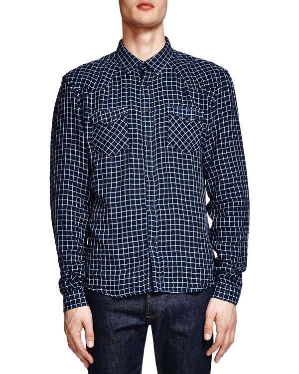The Kooples Regular Fit Double Face Check Button Down Shirt