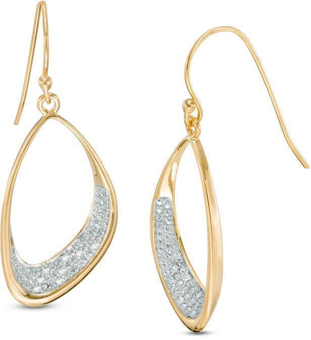Zales 1/10 CT. T.w. Diamond Freeform Oval Drop Earrings in Sterling Silver and 18K Gold Plate pNxvz8b8