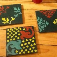 Hand painted tiles use as art, drink coasters or hot plates for sale www.postyourpiece.com