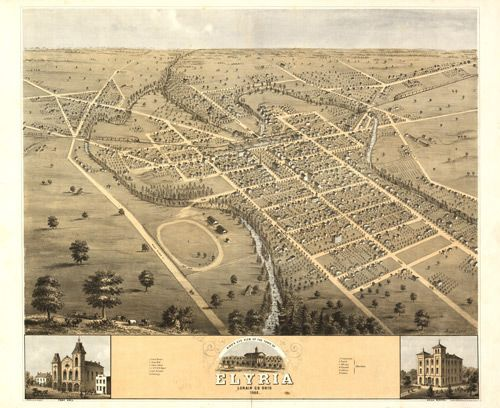 Pictures of Old Elyria Ohio Historic Map of Elyria OH 1868 My