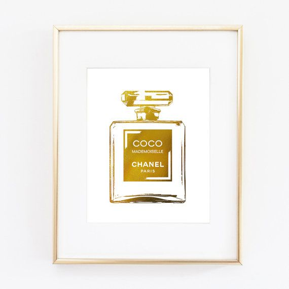 Gold Perfume Bottle Decor Extraordinary Chanel Coco Cc Perfume Bottle Foil Gold Wall Art Print Home Room Inspiration
