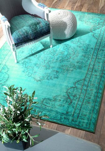 Machine Made Vintage Inspired Overdyed Rug Traditional Turquoise