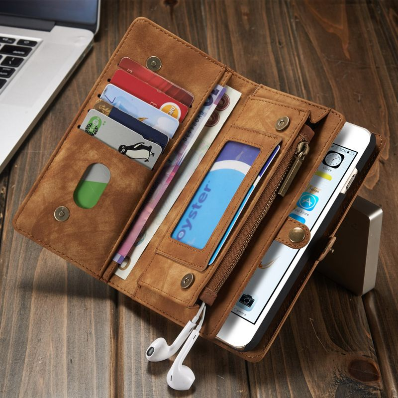 Tweede laag lederen case voor iphone 7 6 6 s 6 plus 6 plus multi functionele 2 in 1 lederen stand wallet cover telefoon case