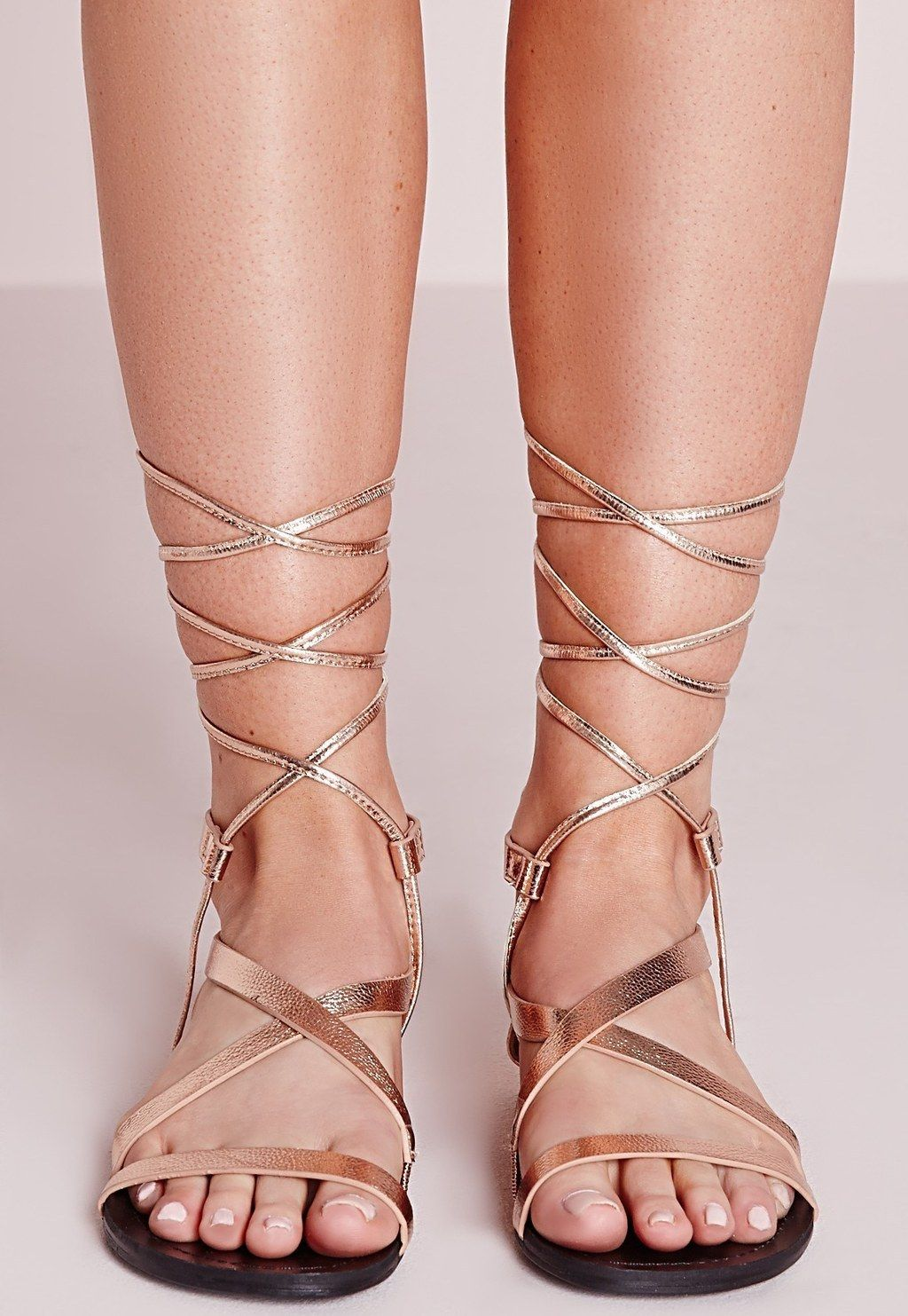 17c0d47f2fa426 These strappy rose gold lace-ups for a touch of boho glam. Rose Gold
