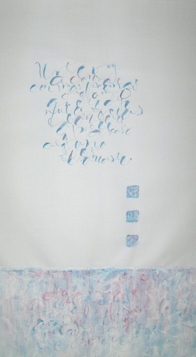 Cinco últimos poemas para Cris (V) - Cortázar - Acuarela con Colapen y gesso sobre papel Torreon - 70 x 1 m https://fbcdn-sphotos-a.akamaihd.net/hphotos-ak-prn1/24973_1422722814006_2980642_n.jpg