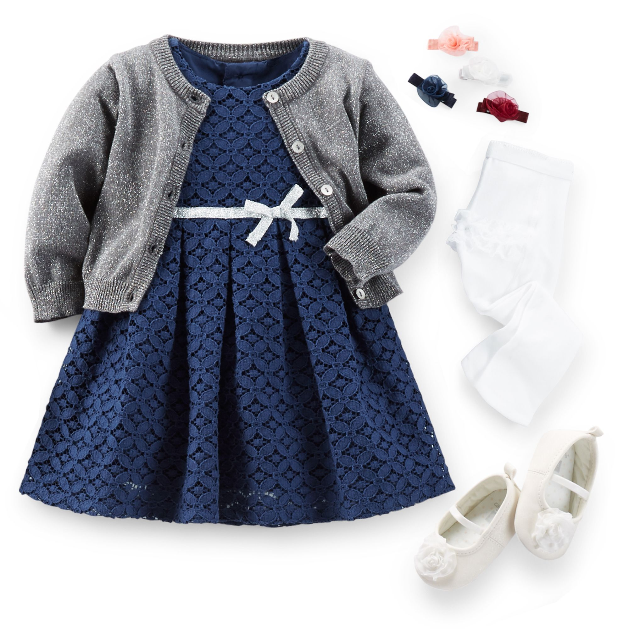 Silver Belle Classic navy lace dress looks perfect with a shimmery