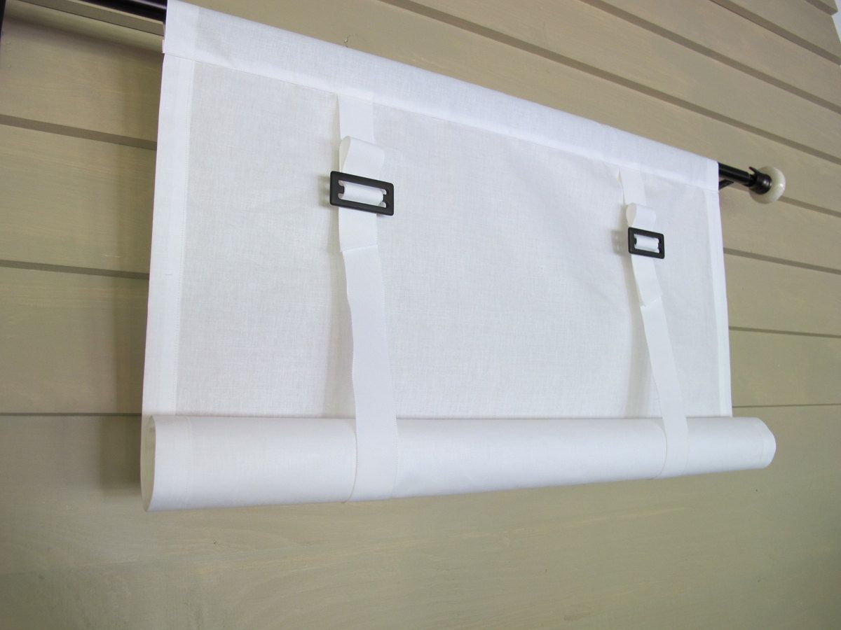 White Cotton Swedish Roll Up Shade Stage Coach Blind Buckles and ...