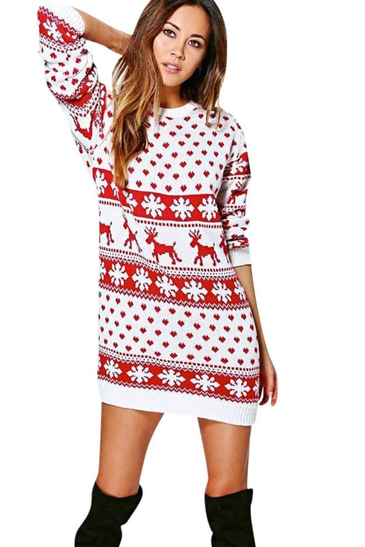Weihnachtspullover Damen Weihnachtspullover Familie Christmas Pullover Hassliche Weihnachtspullover Weihnachts Langarm Minikleid Kleider Damen Damenkleider