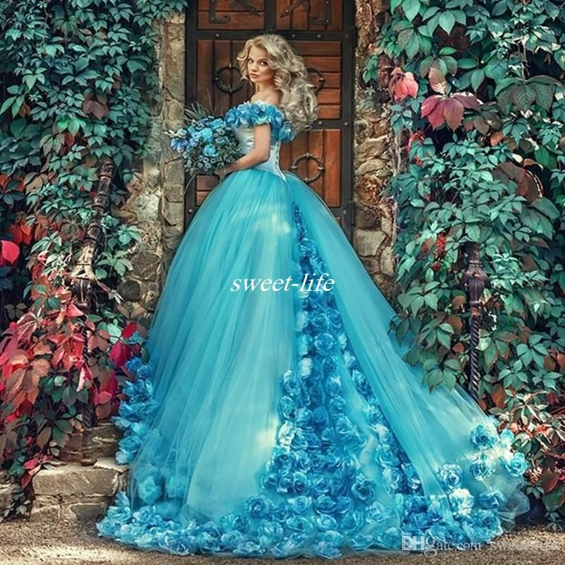 b8138071263 2017 Cinderella Princess Dresses Blue Ball Gown Quinceanera Dresses  Handmade Flowers Off the Shoulder Court Train Tulle Sweet 16 Prom Dress  Quinceanera ...