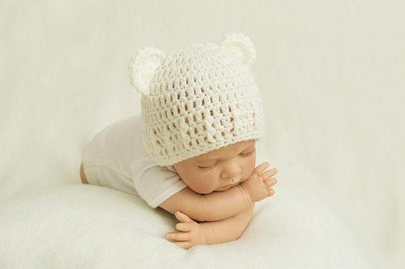 Bonnet ours, bonnet oreilles, bonnet bébé, bonnet bébé crochet, bonnet  naissance, bonnet oreilles ours, bonnet ourson, bonnet nouveau-né 8150b166a3c