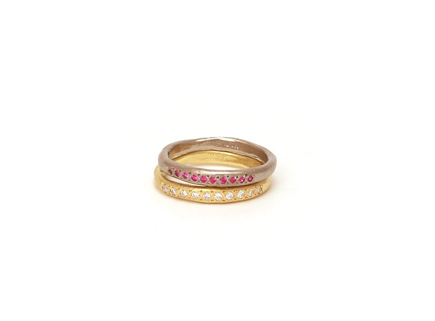 Possibilities rings by Katherine Bowman (Top: 18ct white gold, rubies / Bottom: 18ct yellow gold, diamonds)