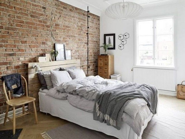 20 Cool Modern Brick Wall Design Ideas For Your Bedroom Bedroom Bedroomdecor Bedroomdesi Brick Wallpaper Bedroom Brick Wall Bedroom Apartment Bedroom Decor