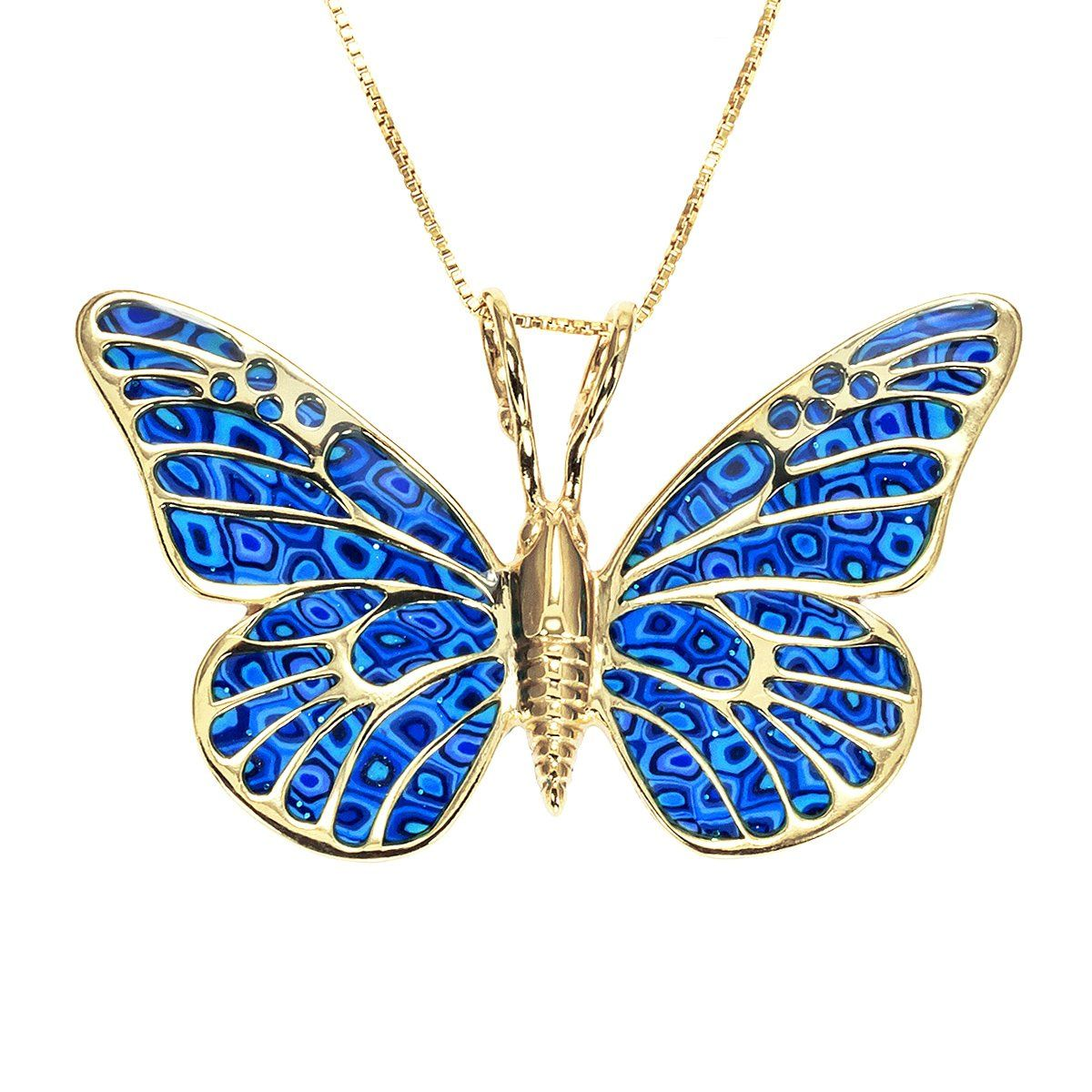 Gold Plated Sterling Silver Butterfly Necklace Pendant Blue Polymer