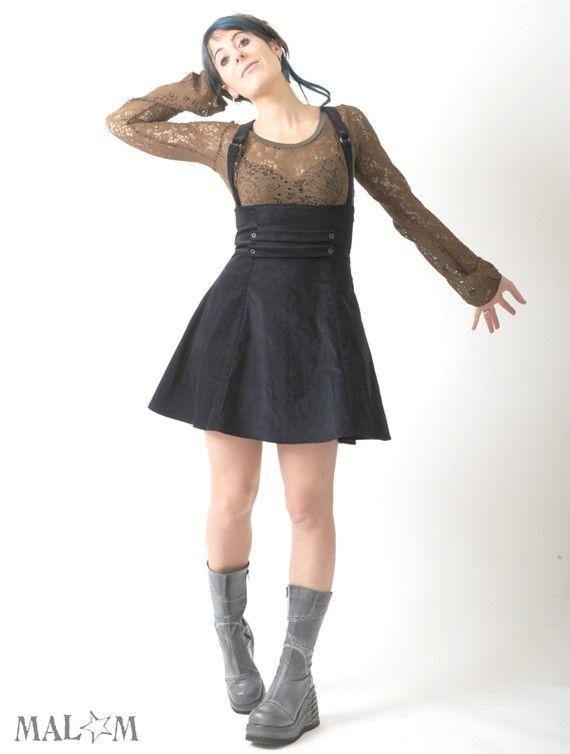 Blue High waisted skirt with suspenders - very dark blue velvet ...