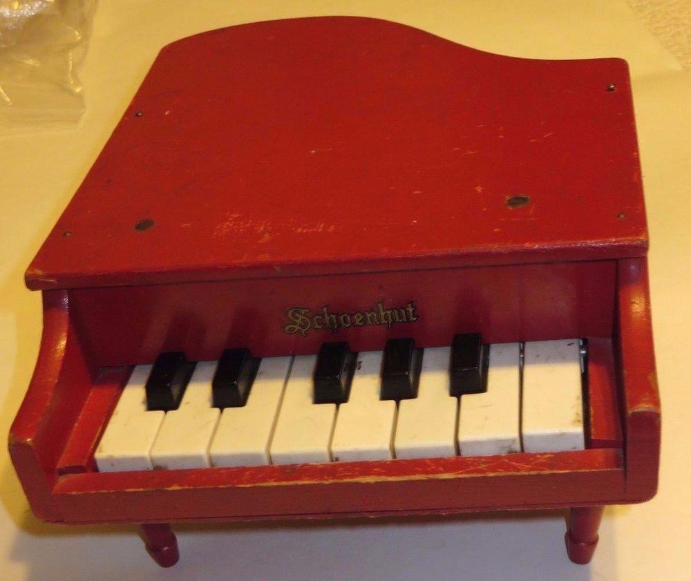 Keys Grandpa Toy Piano  >> Vintage Schoenhut Red Wood Toy Piano 8 White Keys 5 Black